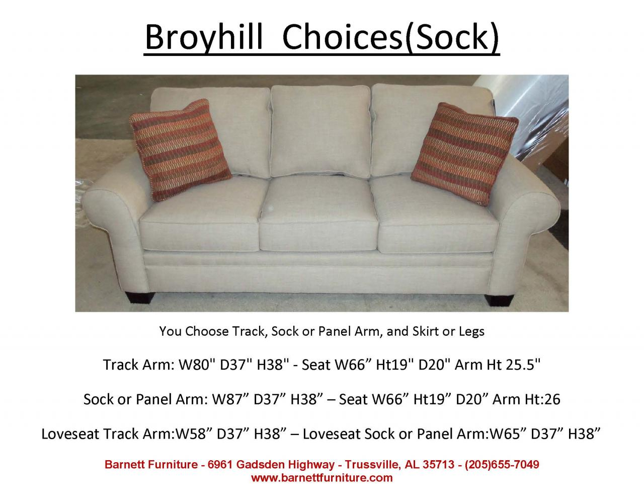 Broyhill Choices Sofa Sock Arm Modern Leg