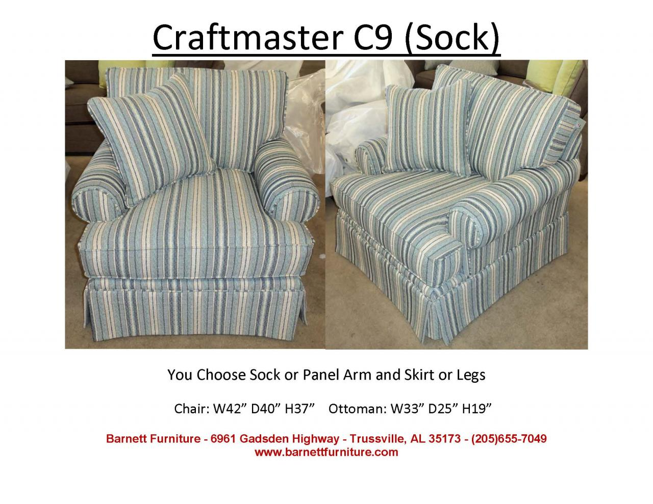 Craftmaster C9 Chair Sock Arm Skirt