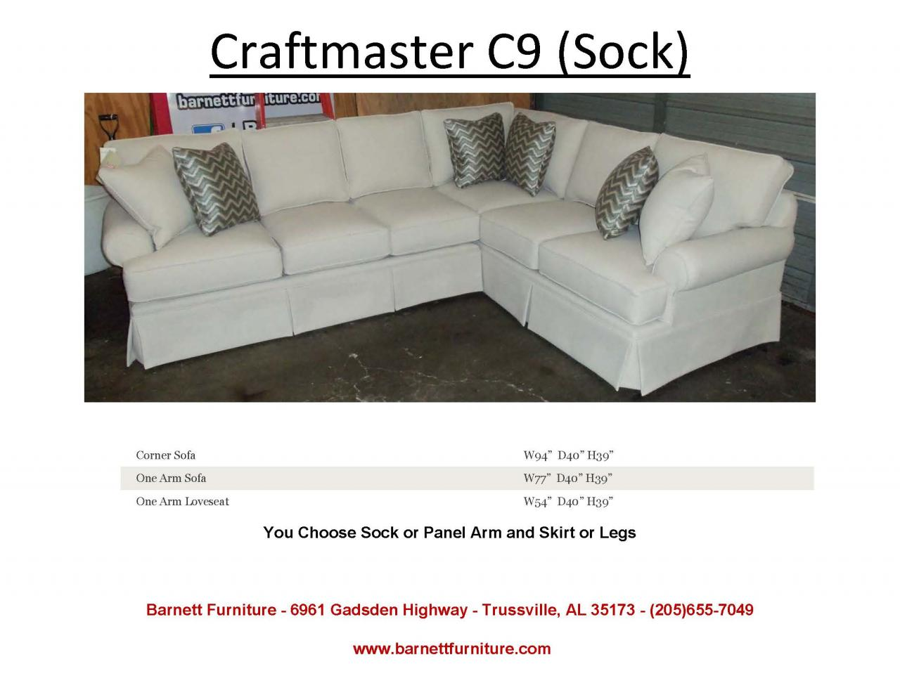 Craftmaster C9 Sectional Sock Arm Skirt