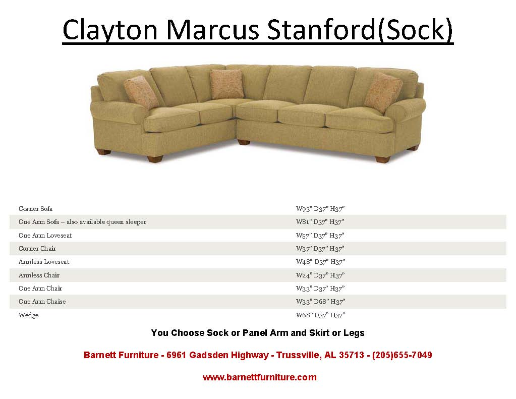 Clayton Marcus Stanford Sectional Sock Arm And Leg