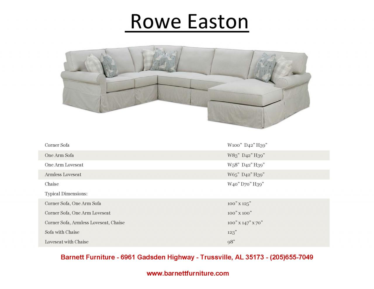 ... Rowe Easton Sectional With Sock Arm ...