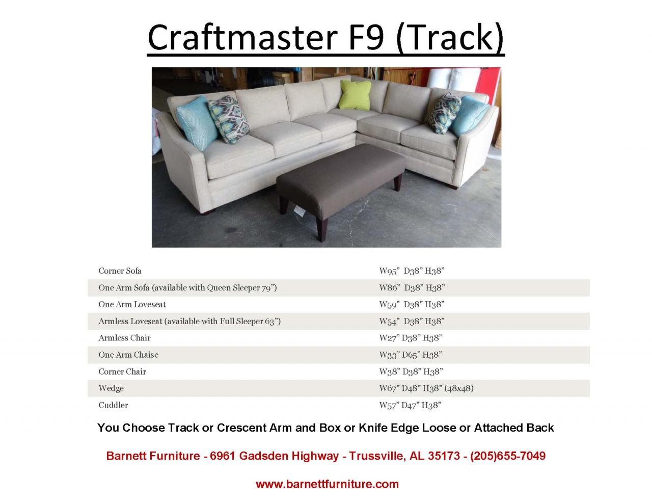 ... Craftmaster F9 Sectional With Track Arm ...