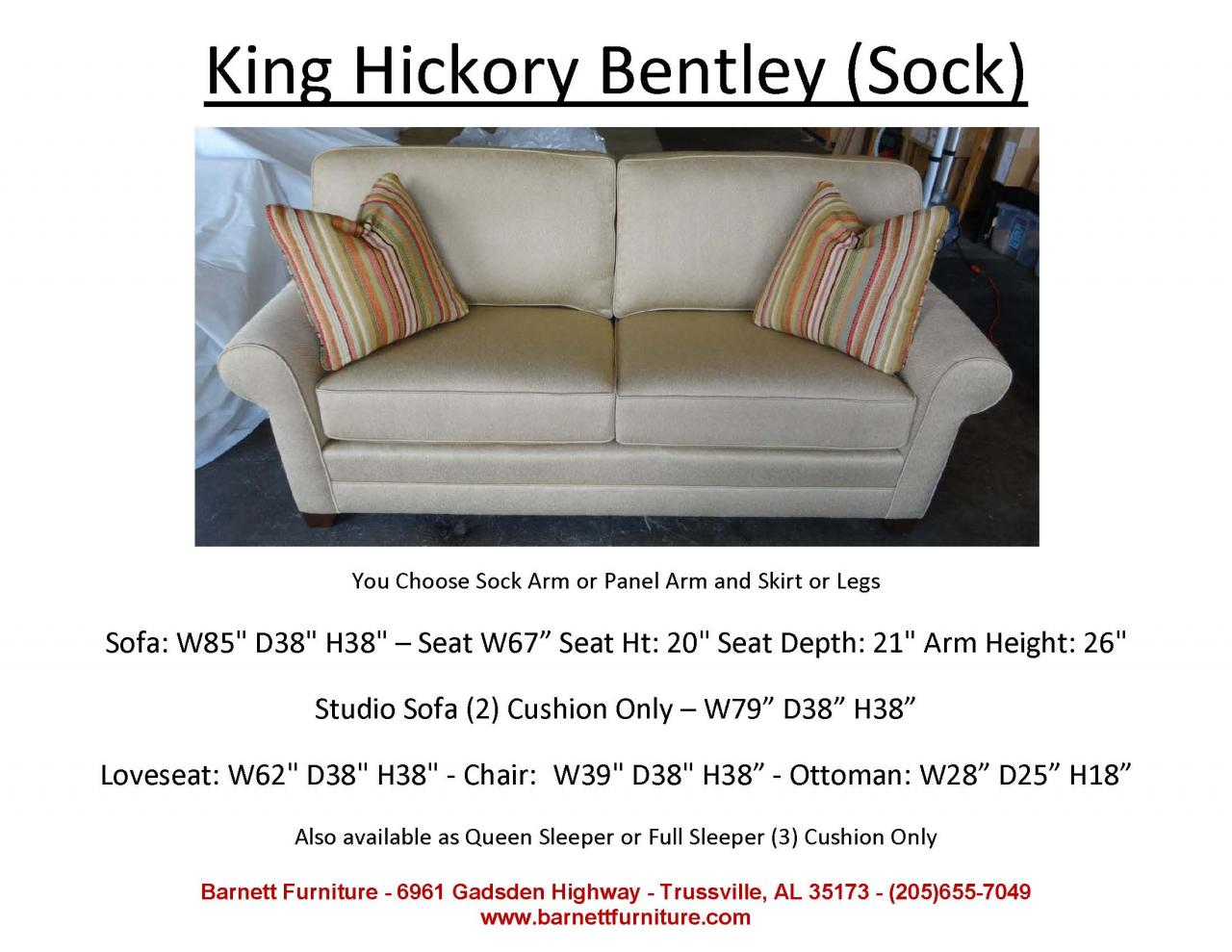 King Hickory Bentley Sofa With Sock Arm And Modern Leg 2 Cushion