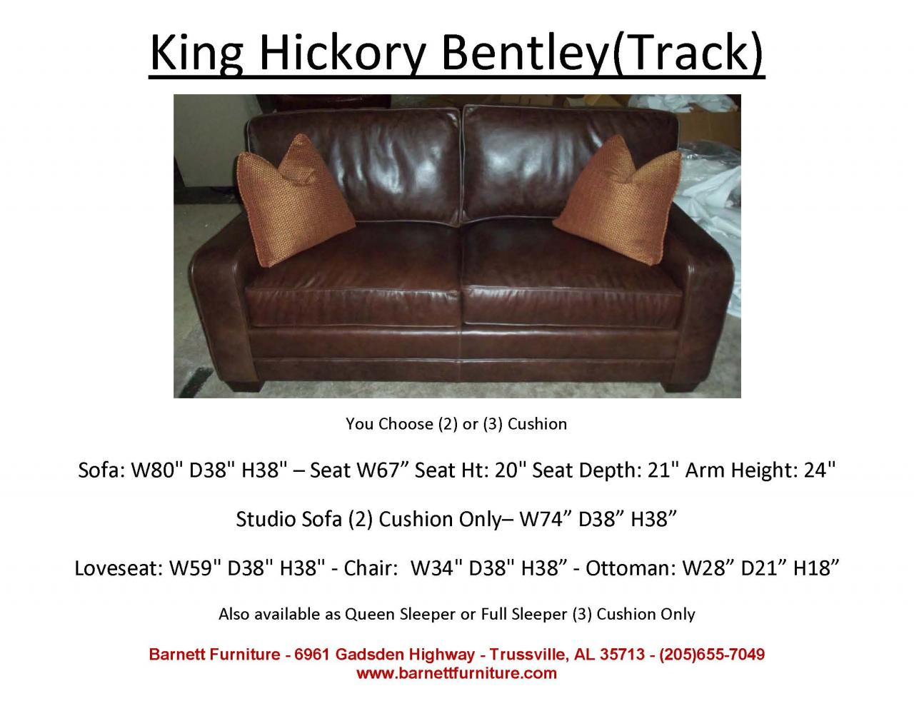 "Barnett Furniture - Apartment Size Sofas 72""-83"""