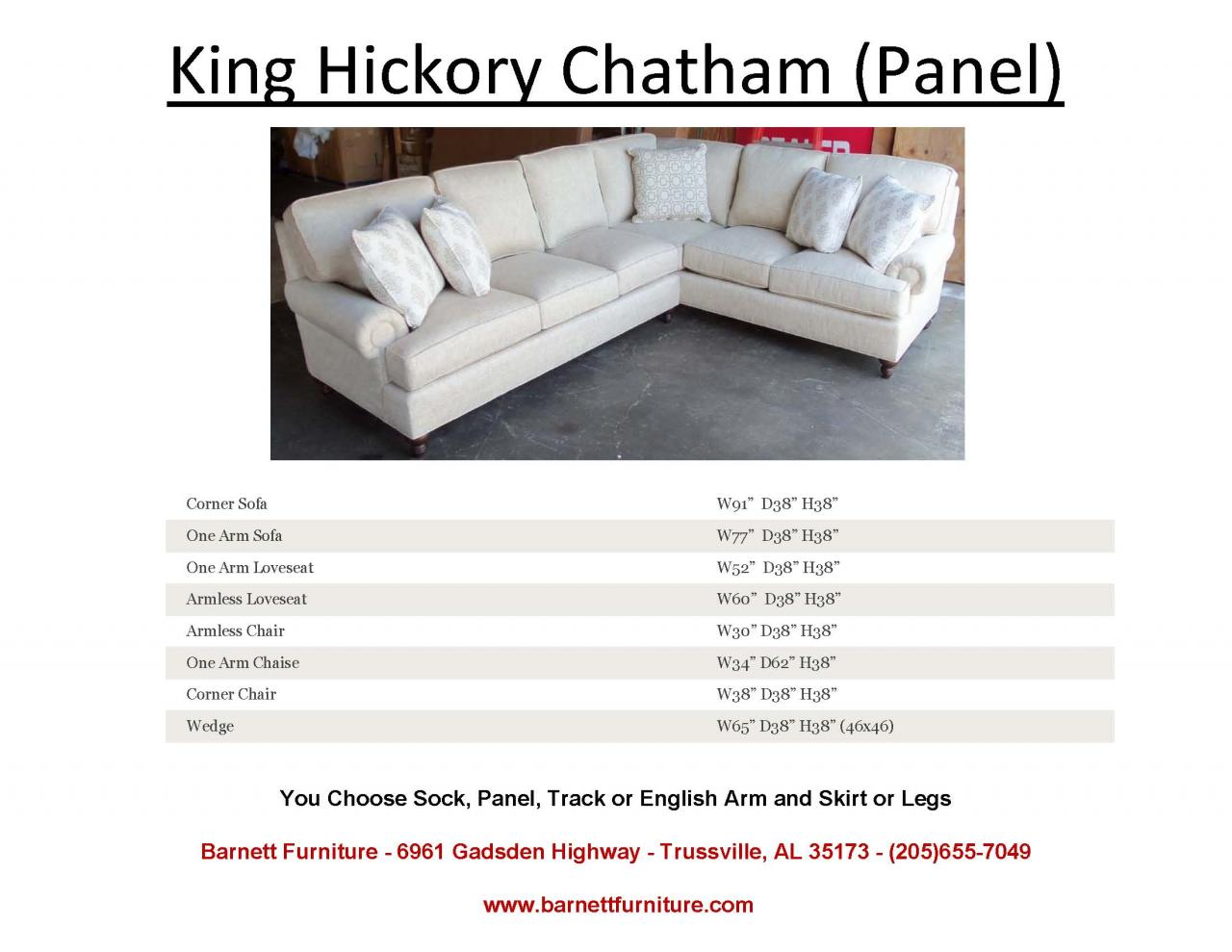 Barnett Furniture Sectionals ~ One Arm Sofa With Chaise