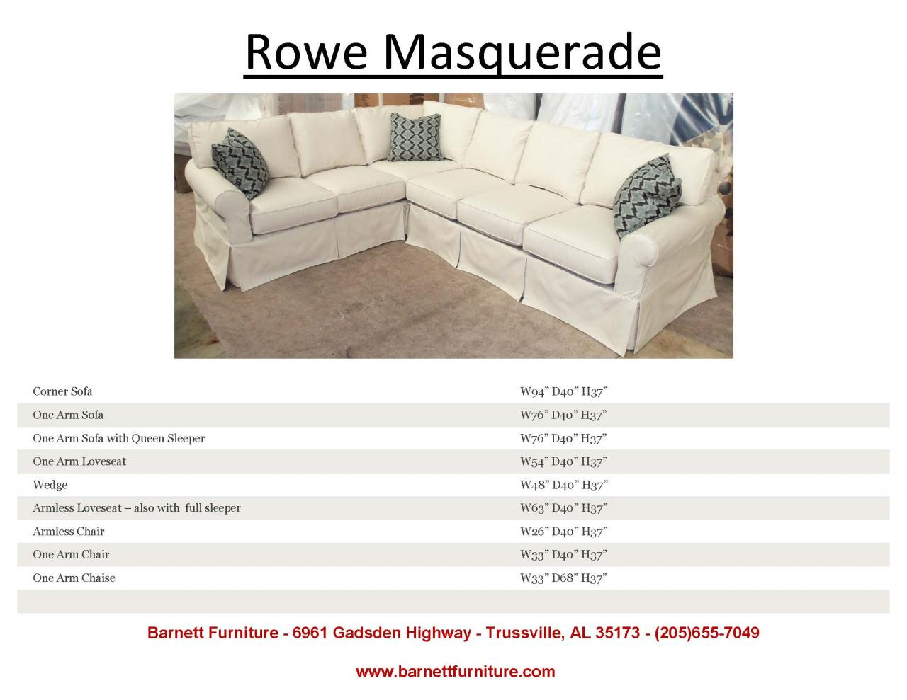 ... Rowe Masquerade Slipcover Sectional ...