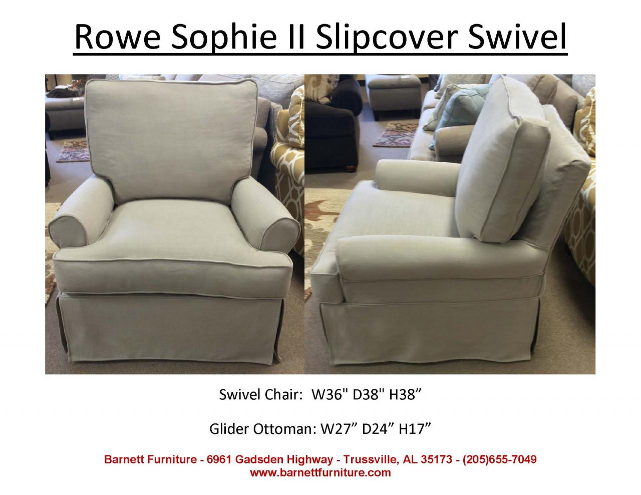 ... Rowe Furniture Sophie II Slipcover Swivel Chair ...
